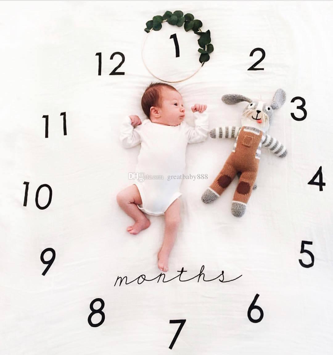 INS Çocuklar Battaniye pamuk fotoğraf prop Battaniye bebek Kundaklama Mektup çiçek dijital bebek çarşaf Uyku Tulumu 100 * 100 cm 16 stilleri C2372