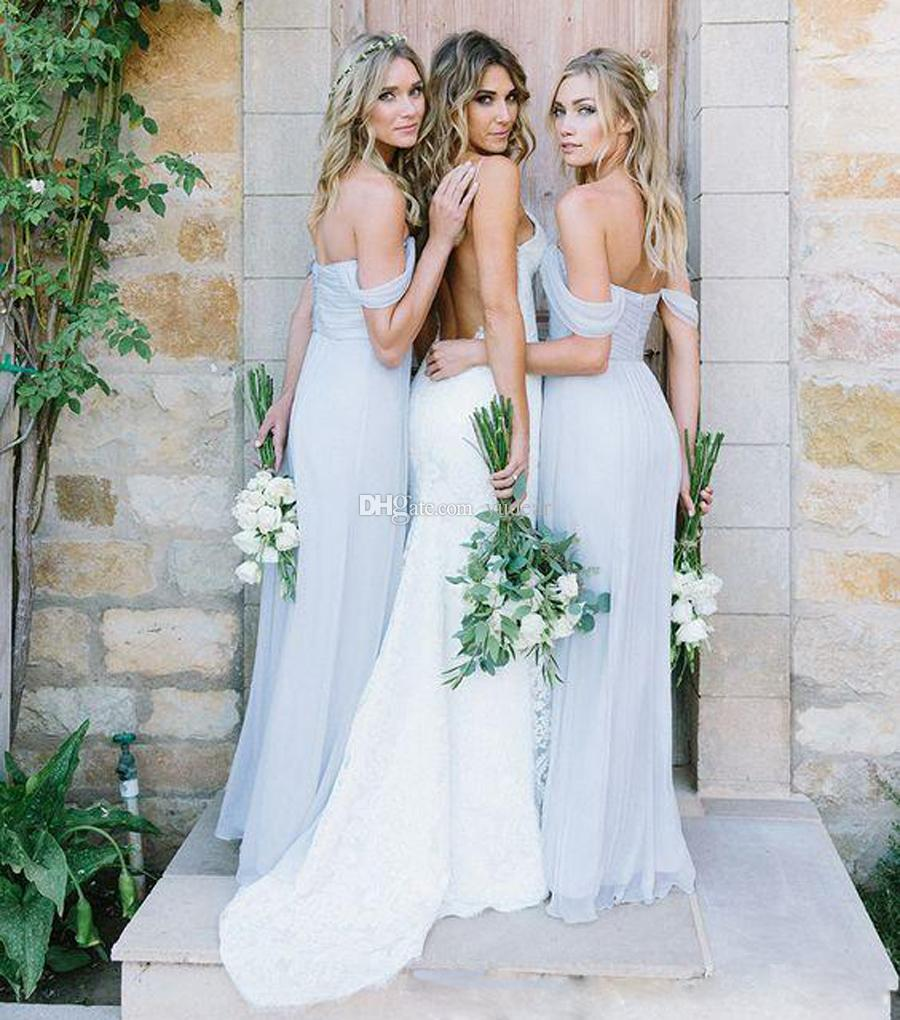 2019 New Fashion Straps V-Neck Bridesmaid A-line Soft Tulle Sweep Train Evening Dresses Zipper Open Back Wedding Girls Outwear Draped Prom