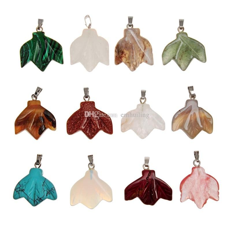 Assorted Mixed Fall Stone Quartz Crystal Carved Maple Leaves Foliage Pendant Charm Event Decoration Wedding Flowers Party Favor Random Color