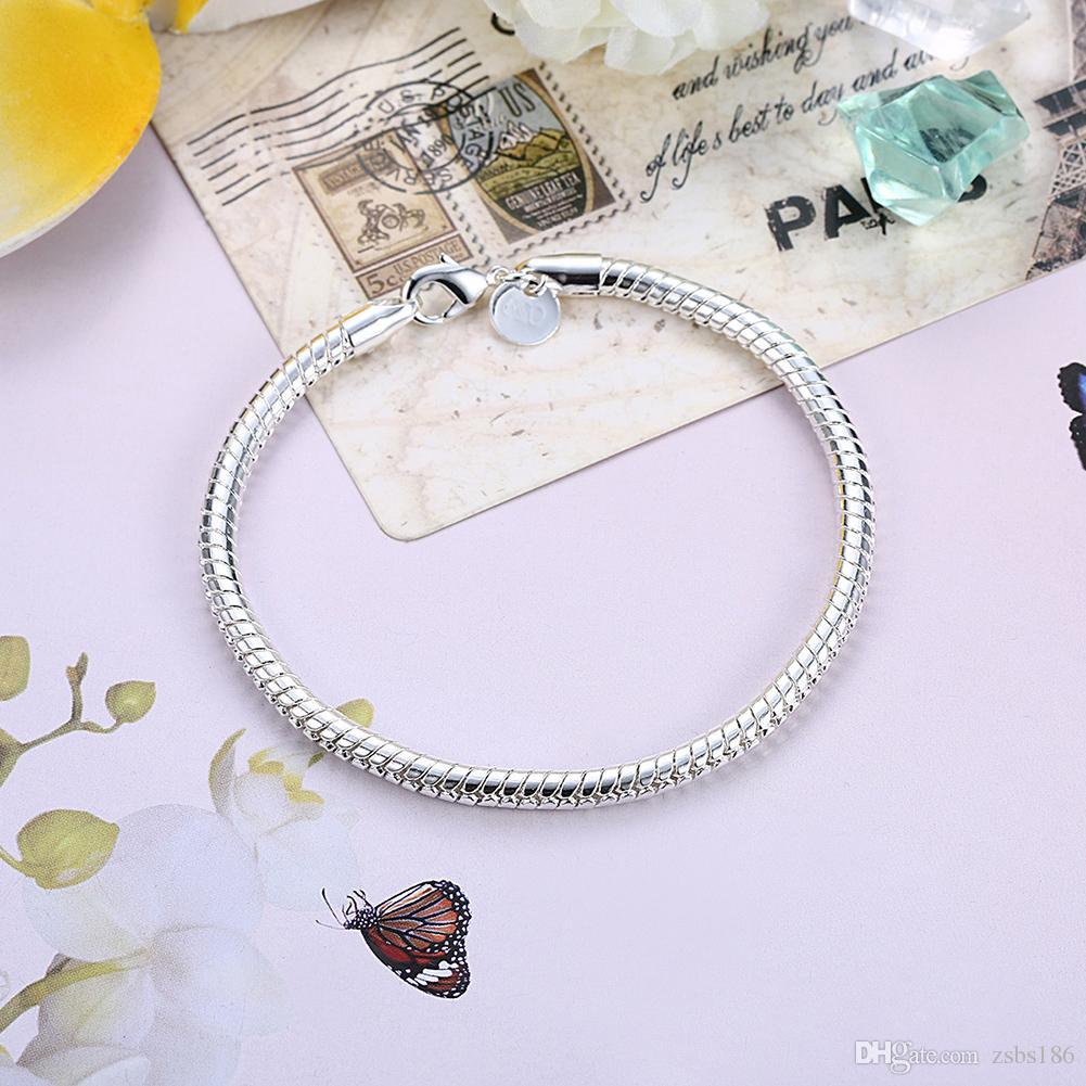 S065 En kaliteli 925 ayar gümüş yılan zincir kolye 4 MM 20 inç Bilezikler 8 inç Moda Takı Erkekler Için Set Ücretsiz kargo