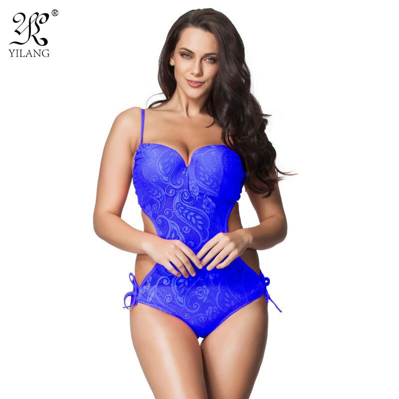 31910082a78cb Wholesale Brand Sexy Push Up One Piece Swimsuit 2016 New Hot Bandeau Swimwear  Women Plus Size Transparent Lace Swimming Suit Beachwear 6XL UK 2019 From  ...