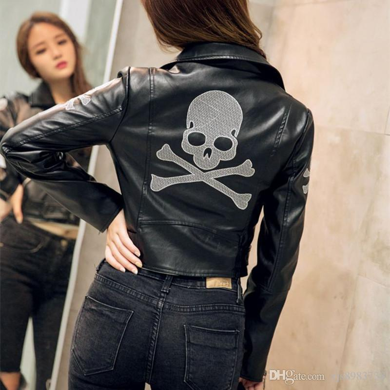 2017 Black Leather Bomber Leather Jacket Lady Lady Girl. European ...