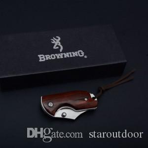 Browning Rhinoceros Wood Pocket Folding Knife 9Cr18 Outdoor Tactical Camping Hunting Survival EDC Tool Best Gift with Wood Box Collection