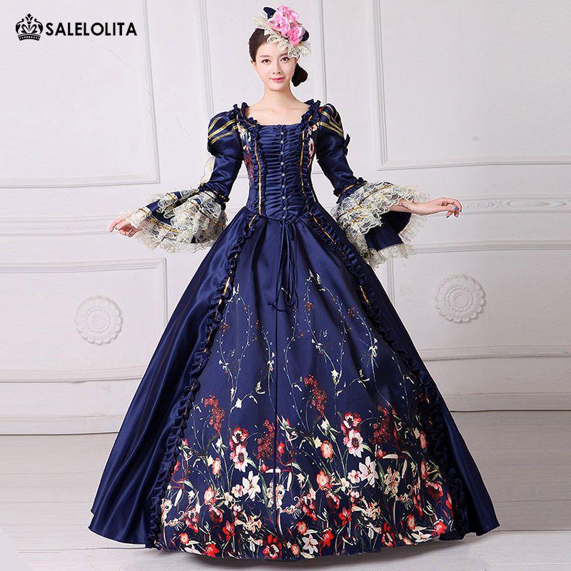 Custom High-grade Blue Paid Women Civil War Victorian Masquerade Ball Gown 18th Century Marie Antoinette Renaissance Party Dress Latest Fashion Women's Clothing