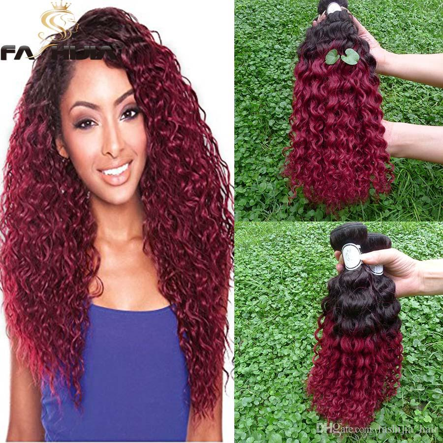 Ombre Bright Red Hair Extensions Brazilian Curly Wave Virgin Hair