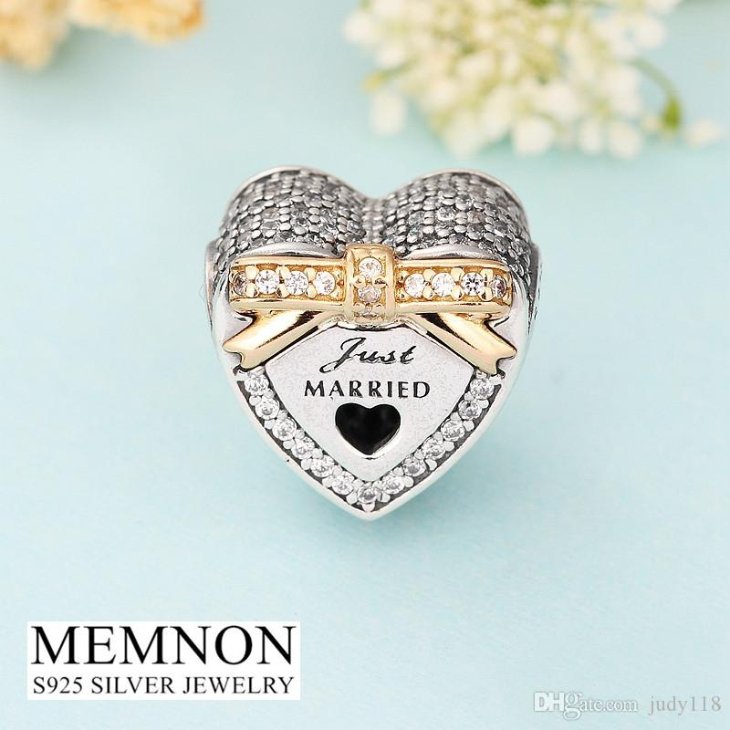 2017 New wedding Heart beads with Golden bow 925 sterling silver jewelry bead fit charms bracelet DIY Memnon Jewelry GD110
