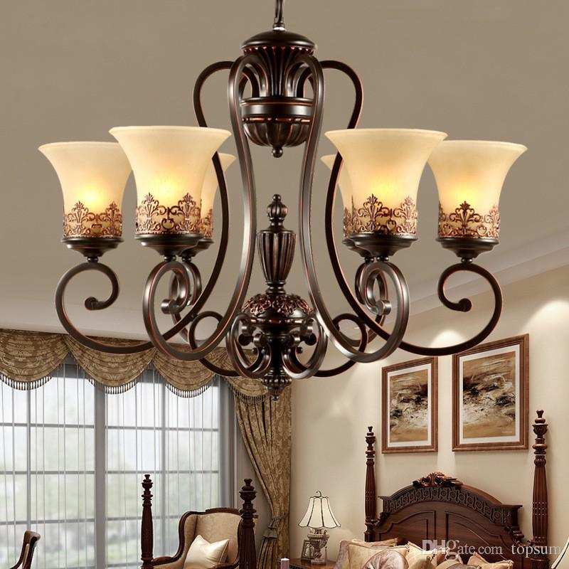 3 5 6 8 arms retro chandelier lighting glass lampshade wrought iron