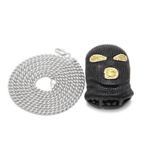 Mens Hip Hop Jewelry CSGO Pendant Gold Chains Necklace Mens Punk Style Alloy Gold Silver Plated Mask Head Charm Pendant with Cuban Chain