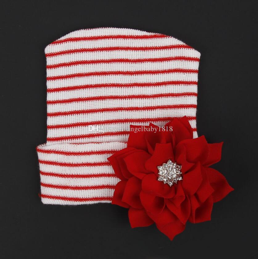 Newborn Baby Crochet Bow Hats Girl Soft Knitting Hedging Caps with Big Sequins Bows Christmas Winter Xmas Warm Tire Cotton Cap 0-3M
