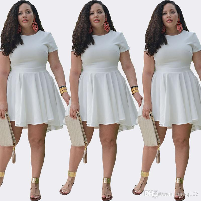 Großhandel Plus Size Kleid Womens Fashion Kurzarm Chiffon Skater ...