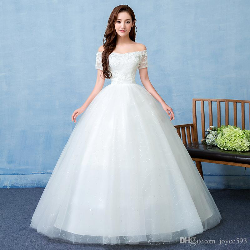 Simple Lace Wedding Dress Cheap Informal Bride Dress Half: 2017 New Design Boat Neck Lace Simple And Elegant Wedding