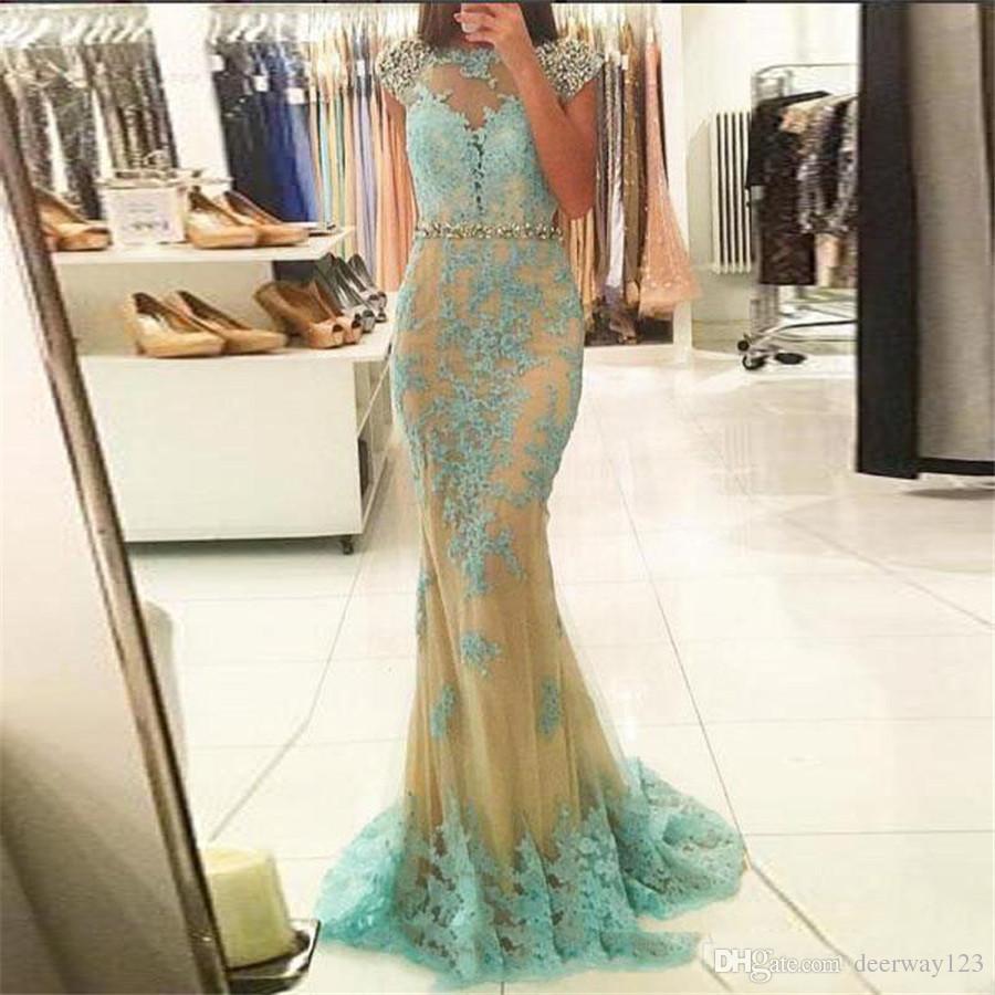 Scoop Neck Applique 블루 이브닝 가운 롱 파티 드레스 오픈 이브닝 드레스 크리스탈 Vestido Longo Mermaid Party 가운 Robe De Soiree