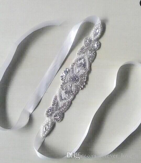 New Charming Bridal Sash With Crystals Pearls Ivory Wedding Sash Belt Handmade Accessories Bridesmaid Wedding Dresses Custom Made
