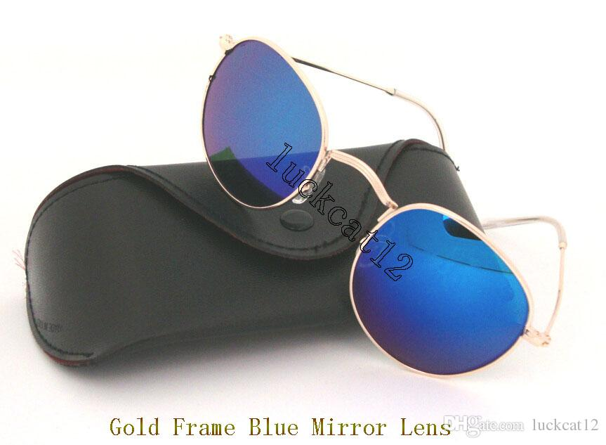 0eaed20e888 Mens Womens Round Sunglasses Eyewear Sun Glasses Designer Gold Metal Blue  Flash Mirror 50mm Glass Lenses With Black Case Grey Box Locs Sunglasses  Suncloud ...