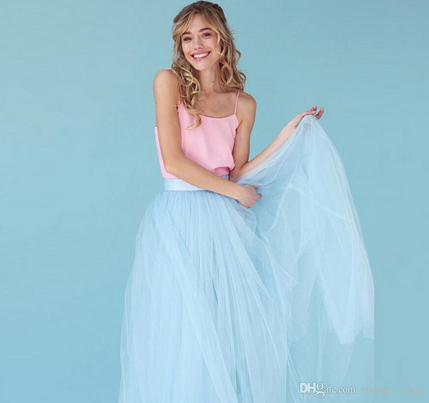 15cf2c334f Compre Por Encargo Modest Sky Blue Tulle Falda Hasta El Suelo Falda Larga Maxi  Faldas De Alta Calidad Mujeres Falda De La Boda De La Dama De Honor A   70.66 ...