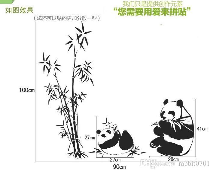 Nuovo nero di grandi dimensioni 100 * 90 cm panda bambù adesivi murali soggiorno tv divano parete rimovibile casa sticker wall sticker art