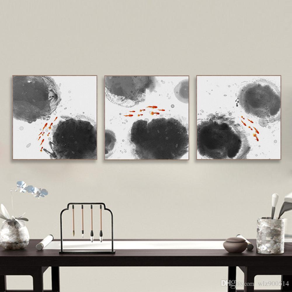 Compre Moderno Chino Oriental Abstracto Tinta De Pescado Impresión ...