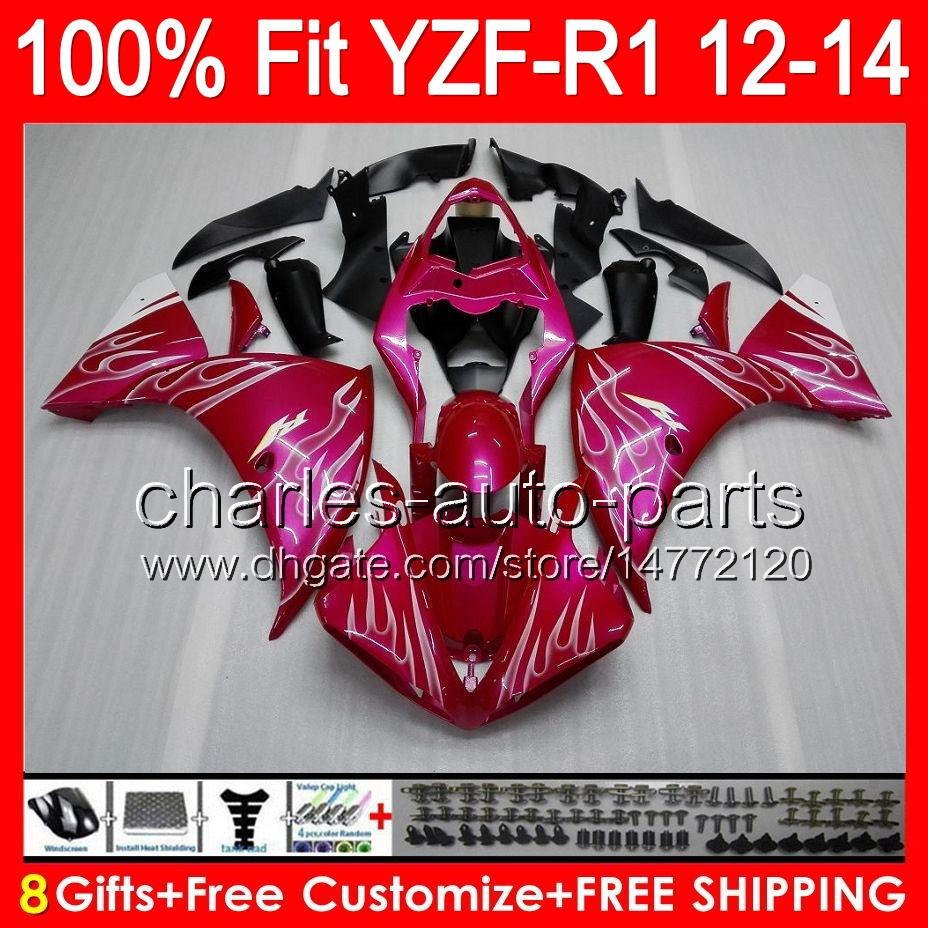 8gifts Injection For YAMAHA YZF-R1 12 13 14 YZF R1 12-14 gloss pink 96NO8 YZF 1000 YZF R 1 YZF1000 YZFR1 2012 2013 2014 pink black Fairing