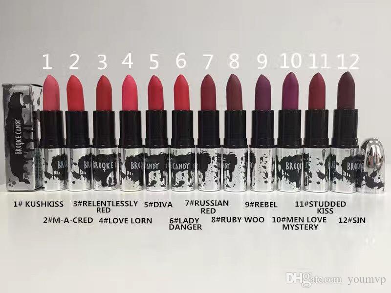 BROOKE ŞEKER MAT MATTA 12 renkler 3g M marka Rujlar Mat Lipgloss Makyaj Parlaklık Dudak Parlatıcısı