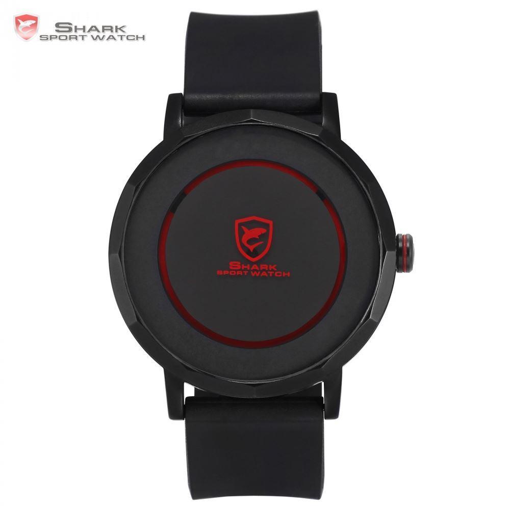 Dusky Shark Sport Watch Red Black Waterproof Simple Round Rotate Display  Reloj Hombre Rubber Band Mens Quartz Wrist Watch /Sh512 Wrist Watches Watch  Sale ...