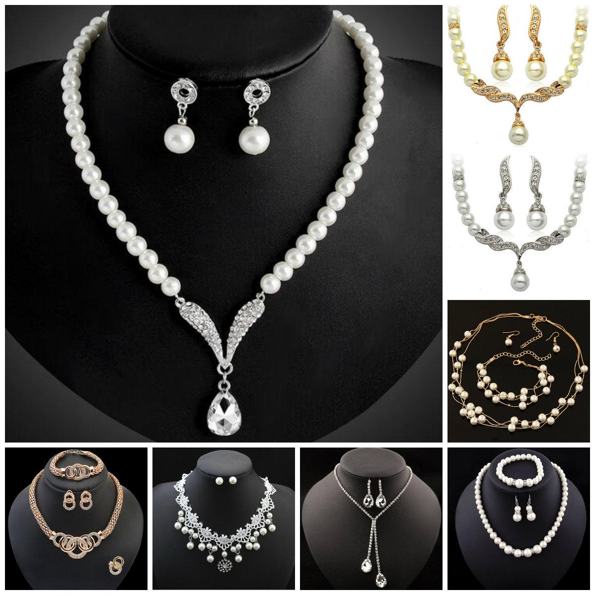2019 Bridesmaid Jewelry Set For Wedding Crystal Rhinestone Tear Drop Shaped Fashion  Jewelry Pearl Necklace Pendants Earring Party Jewelry Sets From Huierjew ... f8a6441d7f37