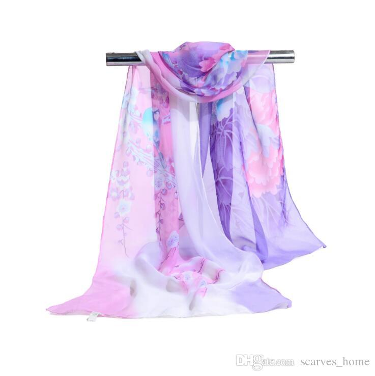 Fabrik Großhandel Womon Marke Luxus Blumenmuster Schal Tinte Paiting Muster Schals Sarongs Strand Mode Schal 160 * 50 cm araber hijab