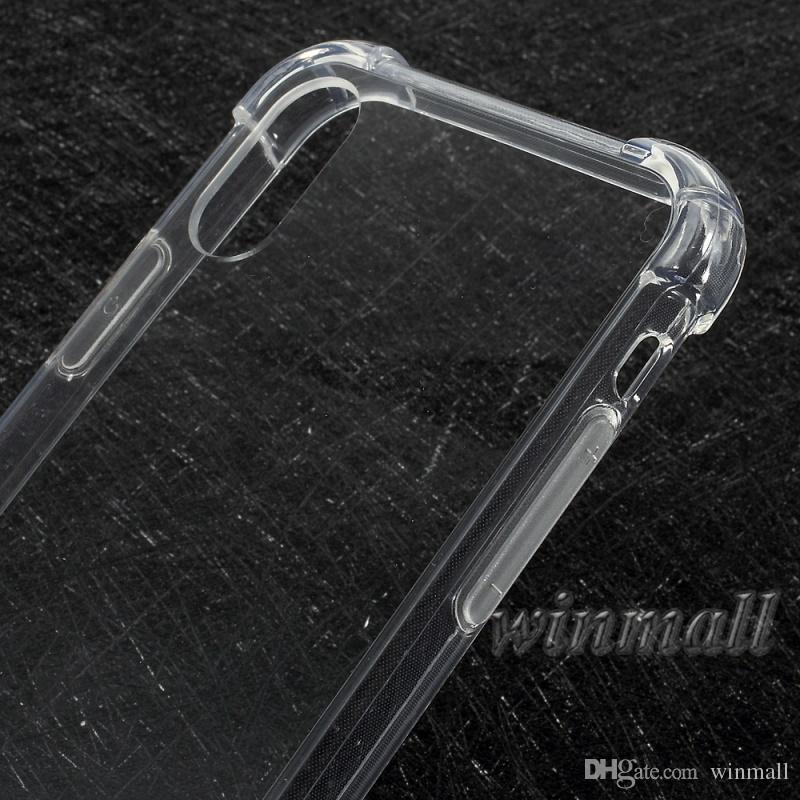 Kristallklarer Kasten für iPhone X XS maximales iPhone XR Samsung S9 plus weiches Luftpolster TPU + hinterer Acrylharter Schutz