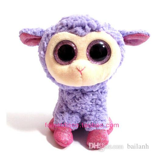 Wholesale-IN HAND TY BEANIES BOOS SERIES STUFFED ANIMAL BIG EYES Glitter eyes~DARIA~the sheep lamb~15cm NO HEART TAG Cute Plush doll
