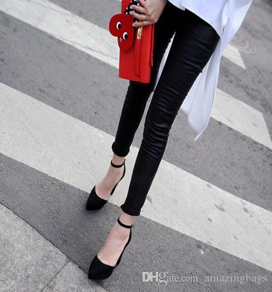 2017 primavera zapatos de tacón alto sexy super alta plataforma bombas punta estrecha tobillo correa mujer tacones gruesos tacones gruesos club desgaste zapatos