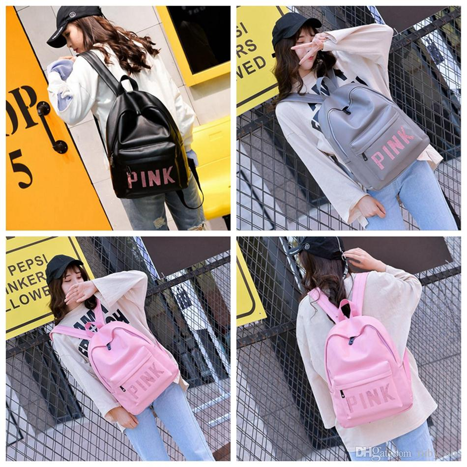 Pink Sequins Backpack Pink Letter PU Backpacks 3 Colors Waterproof Travel Bags Teenager School Bags OOA3000