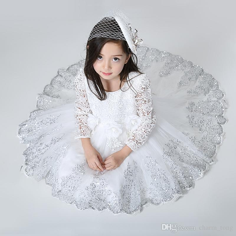 New Flower Girl Dresses with Long Sleeve High Low Communion Party Pageant Dress for Little Girls Kids/Children Dress for Wedding