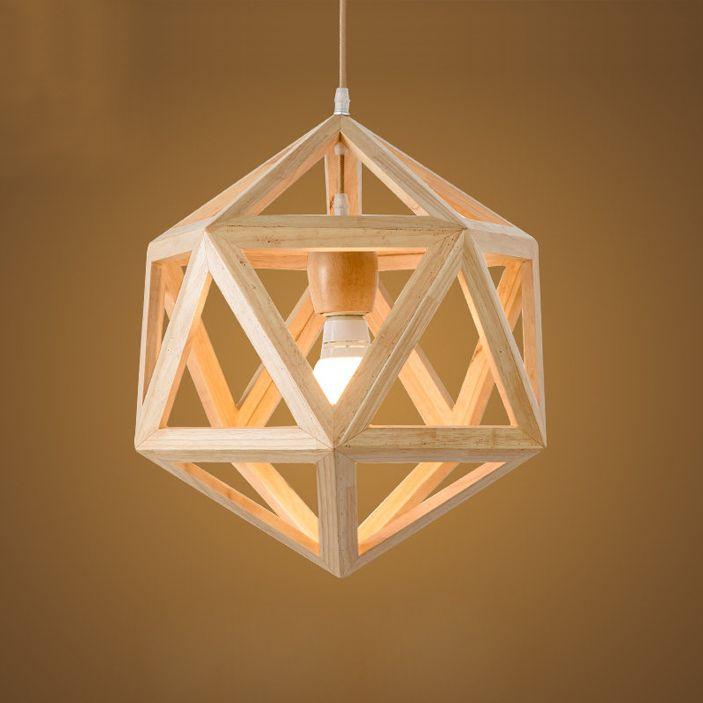 Pendant chandelier wood geometric lighting led e27 wood solid wood see larger image audiocablefo