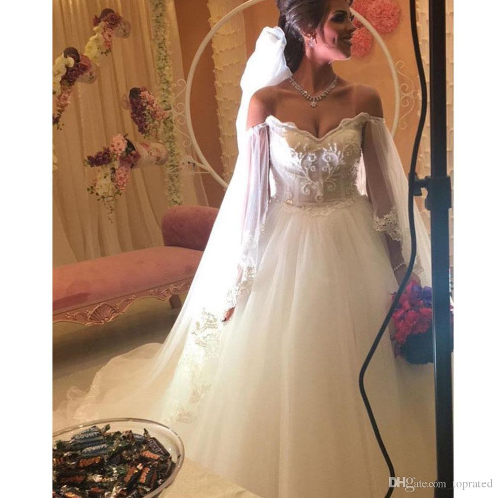 Simple But Elegant Off Shoulder Sweetheart Beaded Pearls Long Sleeve Ball  Gown Wedding Dresses 2017 Lace Country Gothic Bridal Wedding Gowns Lace  Wedding ... 18ed21b17dec