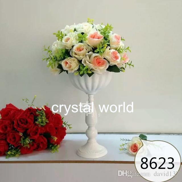 Elegante Mini candelabro de cristal plateado florece los centros de mesa para la decoración de 12 mesas de bodas