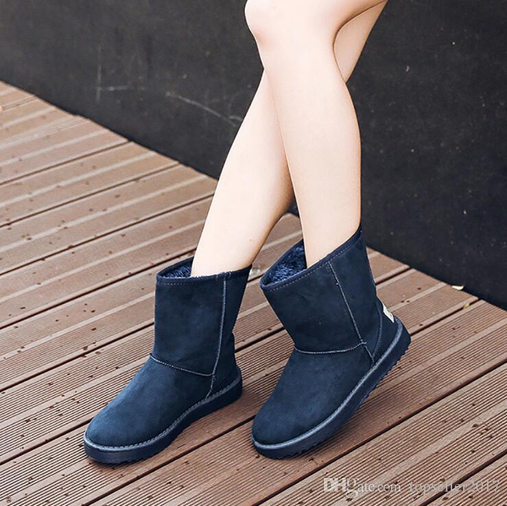 Fashion Classic Women Boots Female Winter Mid-Calf Boots Shoes Snow Boots Ladies Shoes Woman Warm Botas Mujer EUR Size:35-40