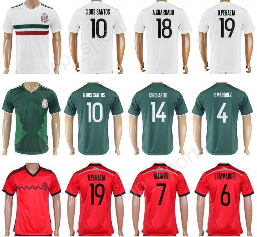 2017 Soccer Mexico Jersey 2018 Camiseta De Fútbol Mexicano Copa Ameirca 10  Giovani Dos Santos 14 Javier Hernandez 18 Andres Guardado 4 R.MARQUEZ Por  ... 2f842b92e