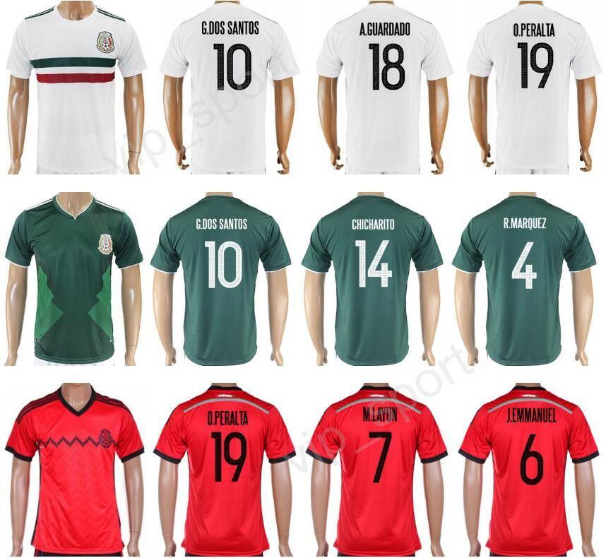 2019 2017 Soccer Mexico Jersey 2018 Mexican Football Shirt Copa Ameirca 10  Giovani Dos Santos 14 Javier Hernandez 18 Andres Guardado 4 R.MARQUEZ From  ... 0511b5959