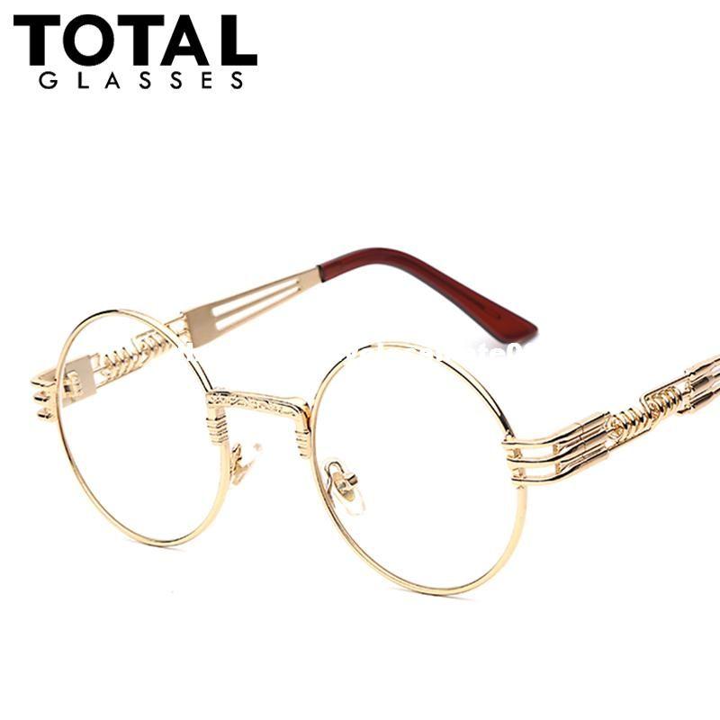 b432069bf Gothic Steampunk Sunglasses Men Women Metal WrapEyeglasses Round Shades  Brand Designer Sun Glasses Mirror High Quality UV400 Online Eyeglasses  Discount ...