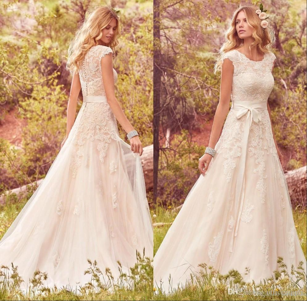 Princess Lace Bridal Ball Gowns Modest Country Wedding: Discount 2017 Bohemian Country Modest Lace Tulle Wedding