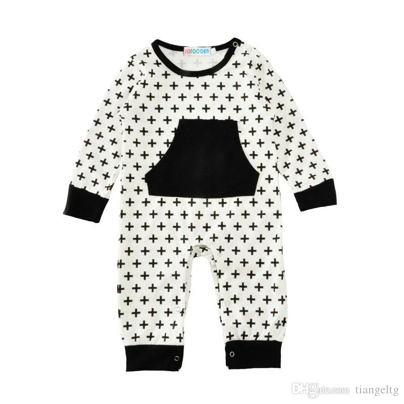 e602de1ba73 2019 Baby Rompers Black Crosses Jumpsuits New Kids Clothing Sets Winter  Autumn Spring Long Sleeve Baby Casual Suits Infant Rompers 0 24M From  Tiangeltg