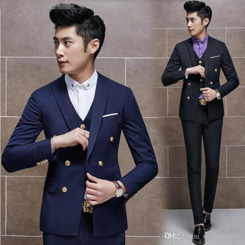 Wine red men suits double breasted wedding suits tuxedos for men custom made groom groomsman suits for men jacket+vest+pants