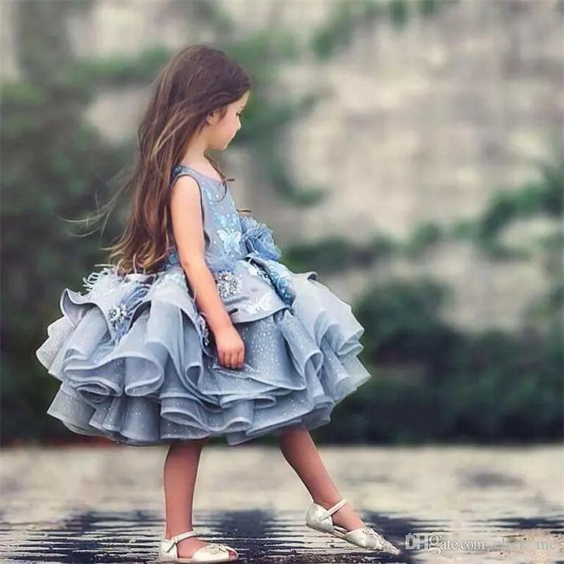 5b6a58edde3 Princess Puffy Girls Pageant Gowns Sleeveless Appliques Flower Girls Dresses  For Weddings Knee Length Organza Children Birthday Party Dress Green Flower  ...