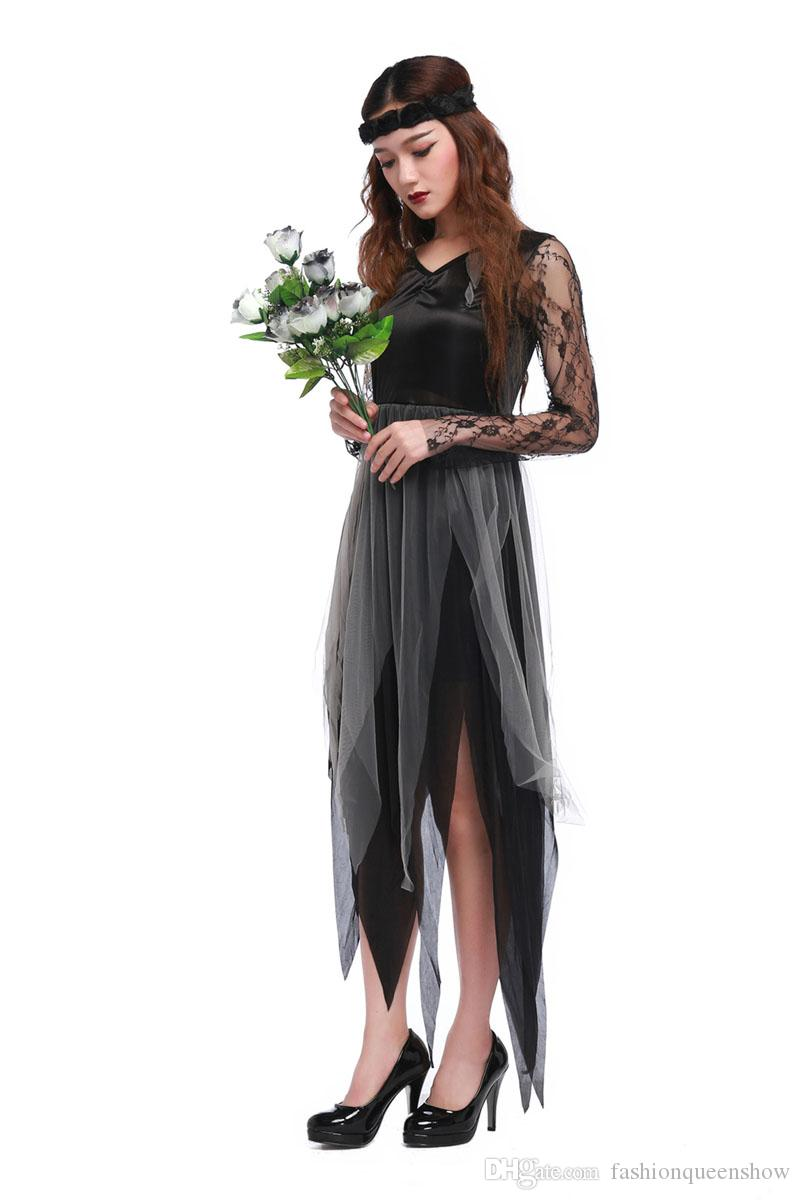 Gotico Angel Ghost Dress Lace Garza Gown Women Halloween Cosplay Costume a tema Party Zombie Bride Cosplay Dress