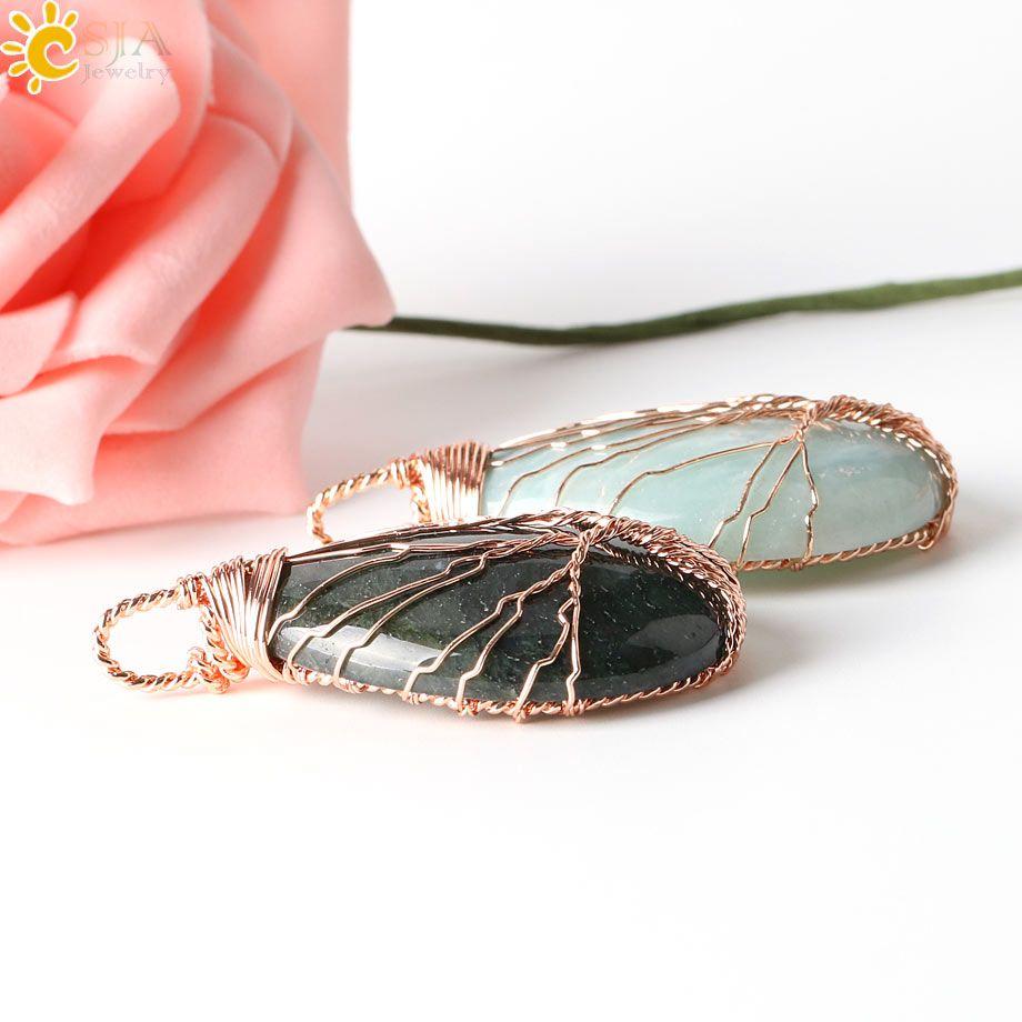CSJA 13 Farben Handmade Wire Wrap Baum Tear Drop Natürliche Amethyst Quarz Opal Tigerauge Stein Charme Anhänger Leder Seil Halsketten E223 B