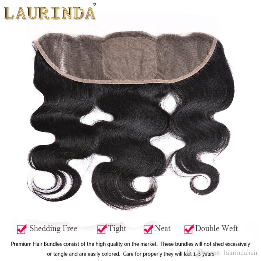 Orelha a orelha Lace frontal com 3 Pacotes Virgin brasileiro do cabelo humano com 13 * 4 Top Lace frontal Encerramento da linha fina Lace frontal