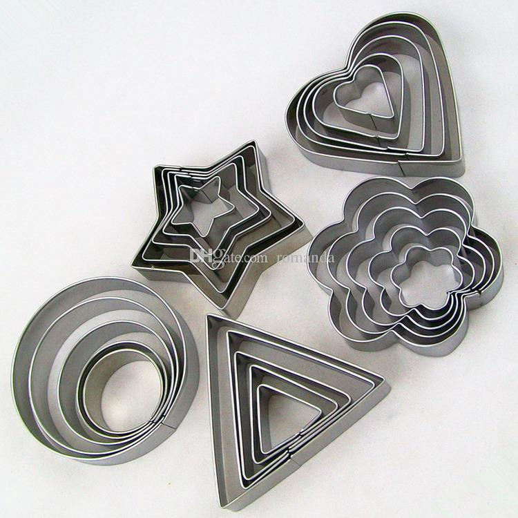Stainless Steel Cookie Biscuit DIY Mold Star Heart Round Triangle Flower Shape Cutter Baking Mould New DHL Shipping Free