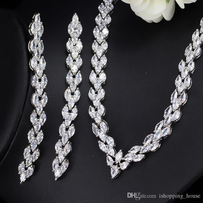 Women Generous Party Jewelry Set White Gold Plated Sparky CZ Long Style Earrings Necklace Set for Bride for Wedding Party LY-061