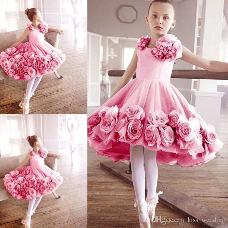 f7b5f49ca0ff Sweety Little Girls' Ballet Dress With 3D Floral Appliques Kids Graduation Gown  Light Pink Made Junior Bridesmaid Dress For Weddings