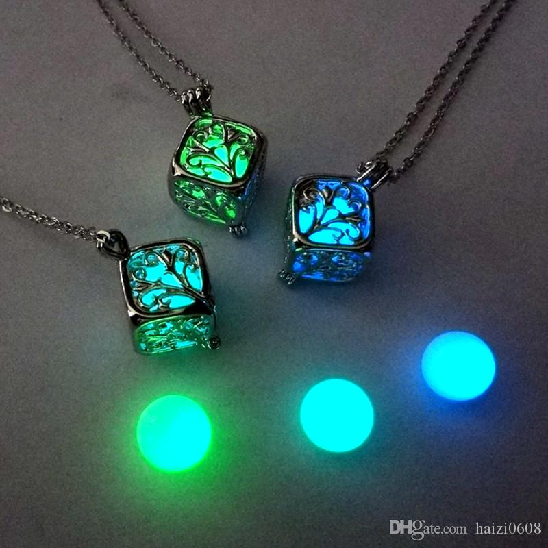 Fashion Hollow Square Tree of life Heart luminous Bead Pendant love cube luminous Box Necklace For Women With Silver Chain Main Style