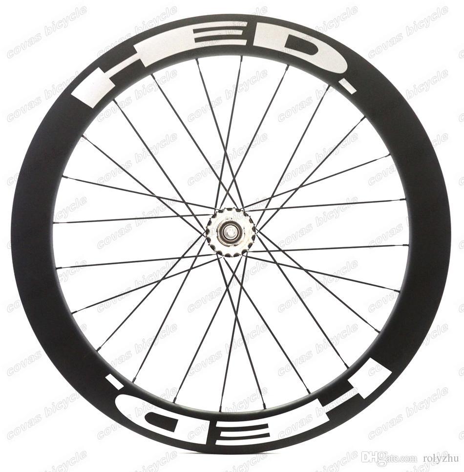 Spedizione gratuita 700c ruote di bicicletta pista 60mm copertoncino ruote in carbonio ruota fissa ingranaggi a velocità singola con mozzo Novatec 165/166
